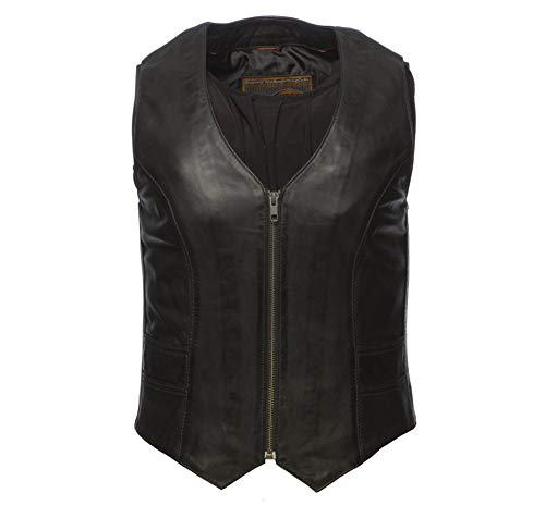 - Women's Black Or Tan Lambskin Leather Motorcycle Vest with V-Neck Zippered Front