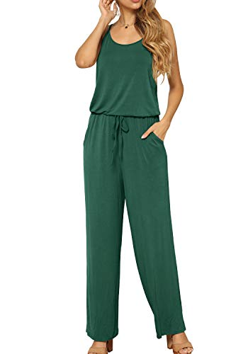 LAINAB Women Summer Casual Sleeveless Pockets Wide Leg Jumpsuits Rompers Pants Green XL