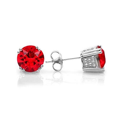 - Swarovski Stud Earrings, GLIMMERING January Birthstone Garnet Color Swarovski Earrings for Women and Girls, Swarovski Crystal Earring Studs with Certificate, Hypoallergenic Stud Earrings