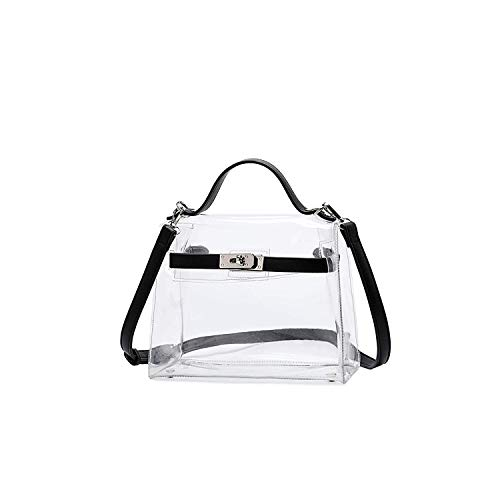 (Lam Gallery Womens Fashion PVC Clear Purses Transparent Shoulder Handbags for Stadium Concert Working Plastic See Through Cross Body Bags-Silver Hardware Black)