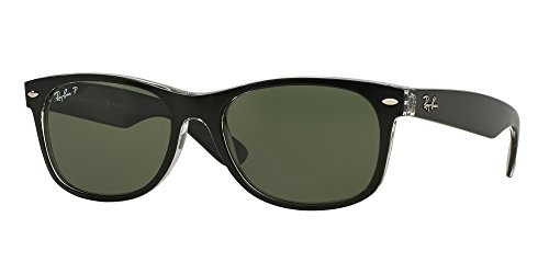 Ray Ban RB2132 605258 52M Black On Transparent/Green Polarized NEW WAYFARER (With assorted pouch - Wayfarer Black Ray Black On Ban