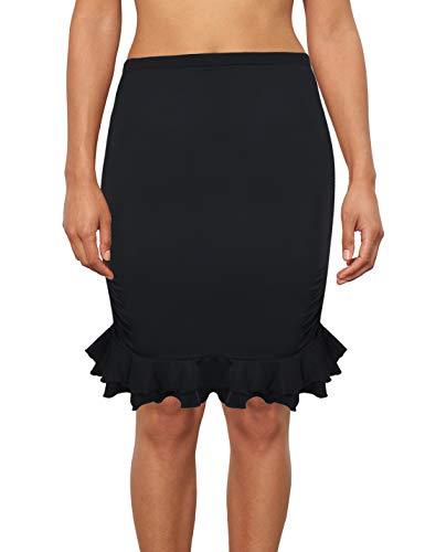 2cbde12fbd Septangle Vintage Swim Skirts Bikini Bottom for Women Shirred Ruffle  Swimdress Cover Up