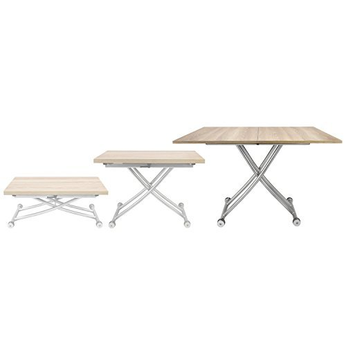 - Corner Housewares Modern Multi-Purpose Dining Room Wheeled Transforming Adjustable Expanding X Lift Coffee and Dining Table, Light Wood Finish