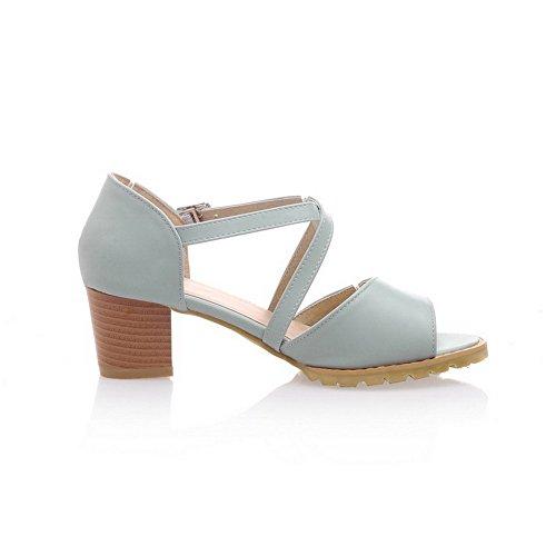 AllhqFashion Mujetes Hebilla Puntera Descubierta Tacón ancho Sólido Sandalias de vestir Azul