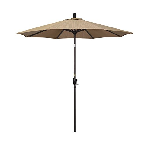 - California Umbrella 7.5' Round Aluminum Market Umbrella, Crank Lift, Push Button Tilt, Bronze Pole, Olefin Terrace Sequoia