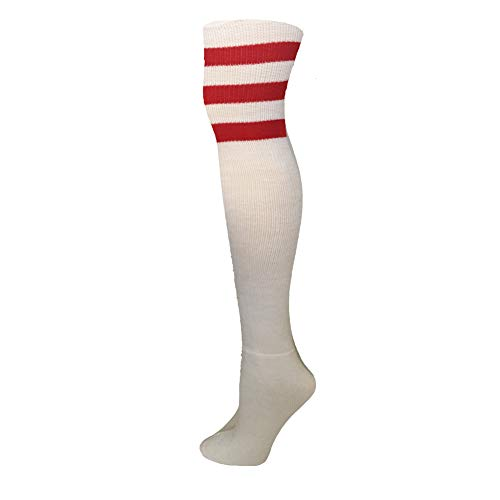 AJs Retro Thigh High Tube Socks - White, Red