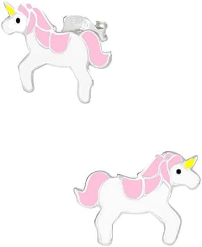 .925 Sterling Silver Hypoallergenic Pink Unicorn Stud Earrings for Girls (Nickel Free)