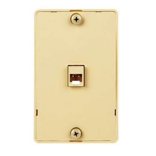 Monster Cable Wall Mount Telephone Line Wall Plate Modular 4 Conductor Ivory Carded