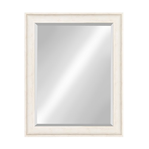 Kate and Laurel McKinley Framed Wall Vanity Beveled Mirror, 26.5x32.5, Distressed White (Mirror White Border)