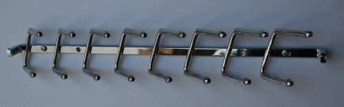"Wall Mounted Tie Rack, 14"" Chrome Non-Sliding"