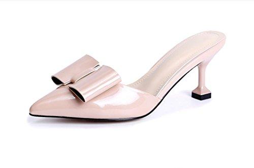 Qin&x Womens Low Heel Schuhe Sandalen Naked Color