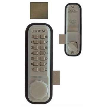 Digital Door Lock 2200 Surface/Rim Mount, Antique Brass by Lockey USA