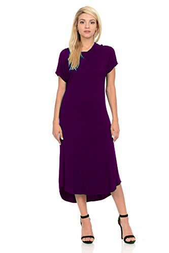 iconic luxe Women's A-Line Short Sleeve Midi Dress Small Magenta