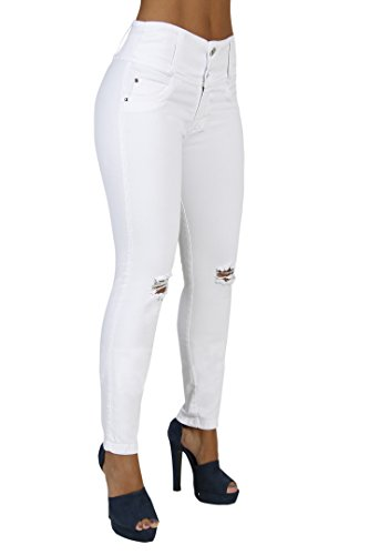 Curvify All White Skinny Jeans | Drestroyed Stretchy Jeans | Butt Lift Jeans (765-D2-9)