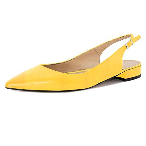 (Eldof Women Low Heels Pumps | Pointed Toe Slingback Flat Pumps | 2cm Classic Elegante Court Shoes Yellow US12)