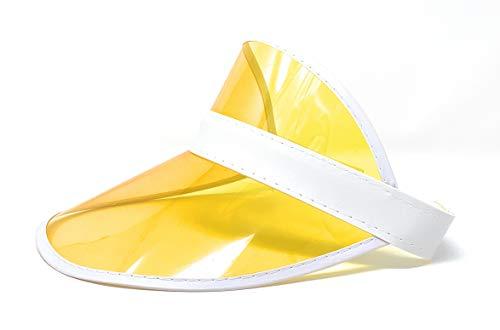 (Retro Tennis Colored Vinyl Sun Visor, Set of 1 Plastic Color Visor, Perfect Neon Visor Beach Hat, Dealer Costume Visor, Vegas Visor, Bingo Hat, Retro 80s Visor , and Music Festivals (Yellow))