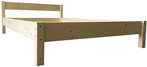 Futonbett mit Kopfteil Holz Bett massiv 90 100 120 140 160 180 200 x 200cm, Hergestellt in BRD Holzbett (140x200cm)