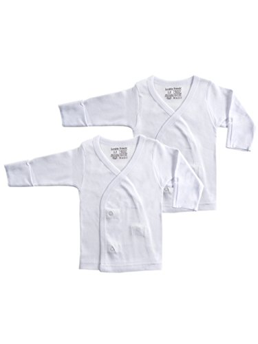 Luvable Friends 2-Pack Unisex Baby L/S Side Snaps Shirts - white, newborn