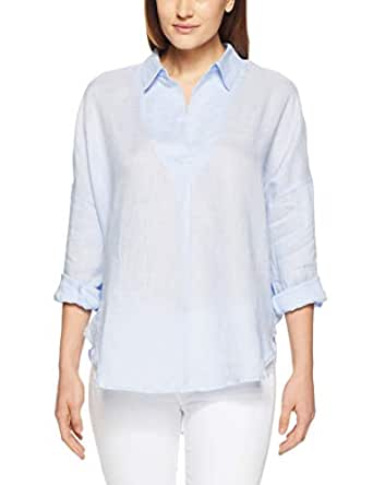 French Connection Women's Linen Popover, Light Blue, Eight