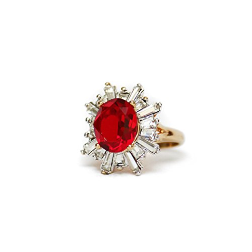 (Providence Vintage Jewelry Ruby & Clear Baguette Swarovski Crystals 18k Yellow Gold Plated Cocktail Ring)