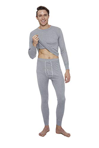 Rocky Thermal Underwear for men Top & Bottom Set Long John Ultra Soft Smooth Knit (2Xlarge, Grey)