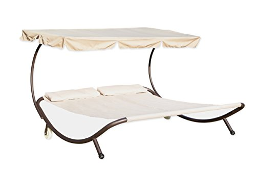 Double Hammock Bed Sunbed with Canopy by Trademark Innovations by Trademark Innovations