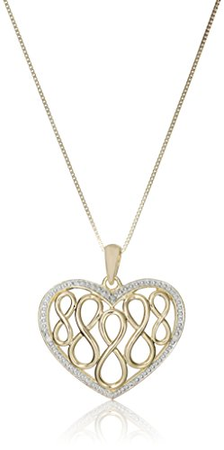 Sterling Silver with Yellow Gold Plated 0.02 cttw Diamond-Accented Heart Infinity Pendant Necklace, 18""