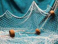 20 X 9 Fish Net, Netting, Nautical, Fishing Net with Rope and Three Floats. New