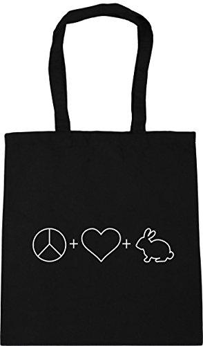 HippoWarehouse Peace, Love and Rabbits Tote Shopping Gym Beach Bag 42cm x38cm, 10 litres Black