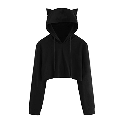 Tloowy Womens Teen Girls Cute Cat Ear Sweatshirt Crop Top Hoodies Long Sleeve Pullover (Black, S)