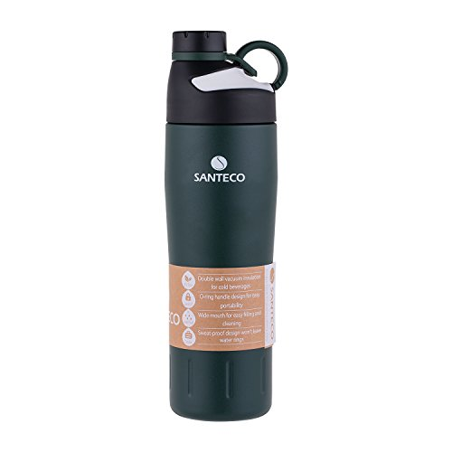 Santeco Vacuum Insulated Leakproof Cold Water Bottle,20oz,Dark Green