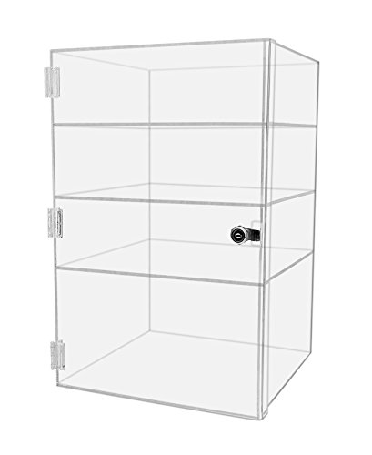 Marketing Holders Security Locking Case Bakery Pastry Cabinet Display with Lock and 2 Keys Acrylic Jewelry Show Case Stand 4 Shelf Cabinet (1, 12