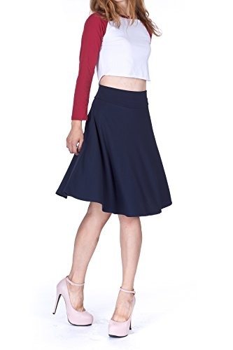 Impeccable Elastic High Waist A-line Full Flared Swing Skater Knee Length Skirt (S, Navy)