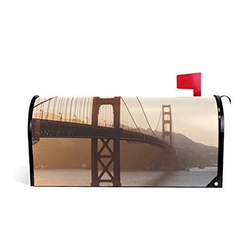 Sunset Gates (HEOEH Sunset Golden Gate Bridge Magnetic Mailbox Cover Home Garden Decorations Oversized 25.5 x 20.8 inches)