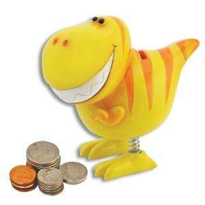 Whimsy Yellow Dinosaur Spring Leg Bank 6 Inch