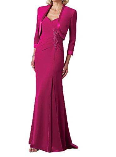 Brautmutterkleider Partykleider Charmant Chiffon Pink Jaket lang Abendkleider Damen Elegant WgCfUBq