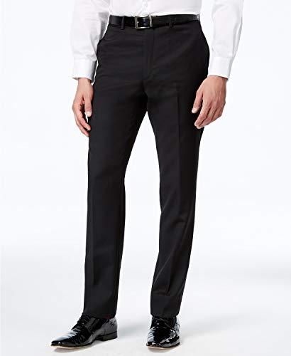 Tommy Hilfiger Men's Flat Front Trim Fit Tuxedo Pant, Black Solid, 38W x 30L