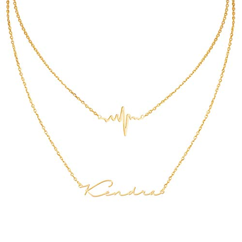 Custom Personalized Jewelry - Custom4U Personalized Name Necklace Custom Made Pendant Jewelry Gift for Women (Layered Necklace-Heartbeat)