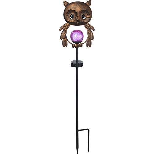 Precious Moments Garden Gifts by 171443 Lighted Owl LED Solar Glass Globe Decorative Scrollwork Metal Garden Stake Yard Decor, Bronze, 26-inch (Her Garden)