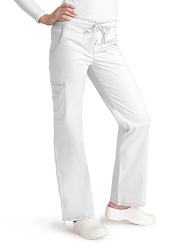 Adar Pop-Stretch Junior Fit Low Rise Boot Cut Bungee Leg Pants - 3102 - White - XS