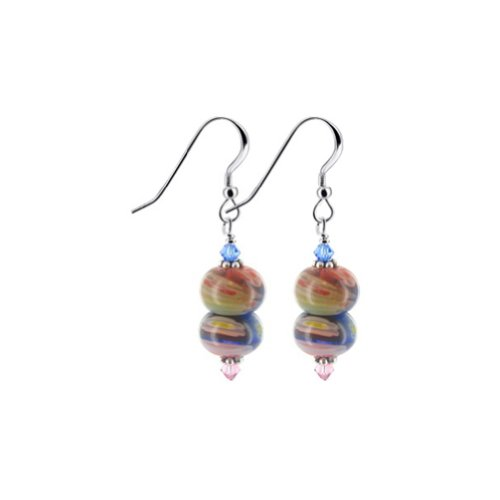925 Sterling Silver Millefiori Glass Multicolor Drop Earrings Handmade with Swarovski Crystals