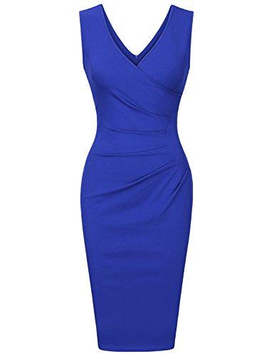 Rockabilly Pencil (Vinmatto Women's Vintage Sleeveless Double V Neck Pleated Slim Business Pencil Dress(M,Royal Blue))