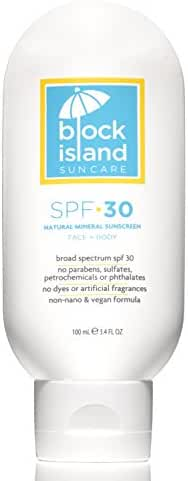 Block Island Organics - Natural Mineral Sunscreen SPF 30 - Broad Spectrum UVA UVB Protection - Non-Nano Zinc - Lightweight Non-Greasy Sunblock - EWG Top Rated - Non-Toxic - Made in USA 3.4 FL OZ