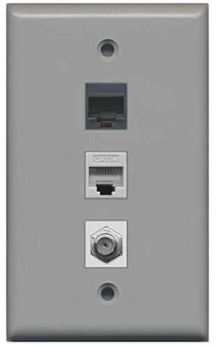 (RiteAV - 1 Port Coax Cable TV- F-Type 1 Phone RJ11 RJ12 1 Cat5e Ethernet Wall Plate - Gray)