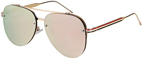 (Pilot Aviator double bridge striped temple Gold frame with pink mirror lens)
