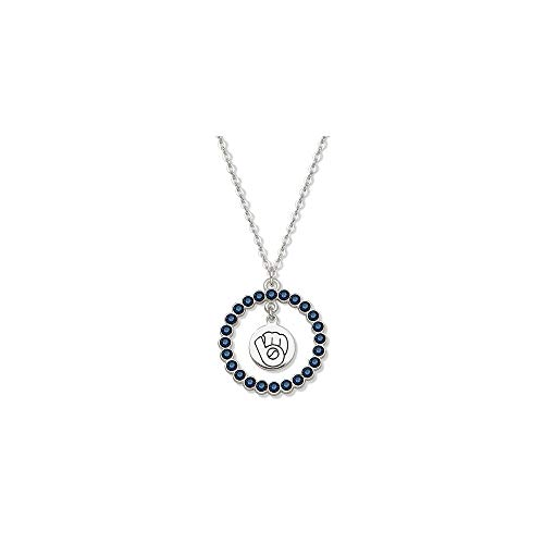 MLB Milwaukee Brewers MILWAUKEE BREWERS SOX SPIRIT CRYSTAL LOGO WREATH NECKLACE Size One Size