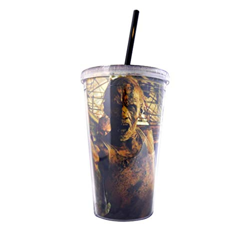 JUST FUNKY The Walking Dead 16 oz Plastic Tumbler Travel Mug/Cup with Straw on Lid (BPA Free, Pack of 1) - Travel Mug Biters Creper Walker Zombies Club for $<!--$9.79-->