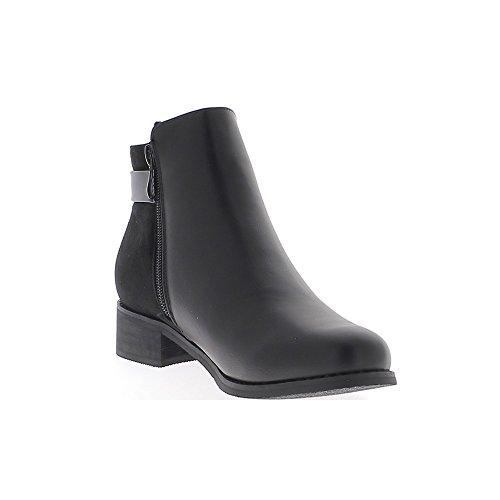 Negro bajo botas con tacón 3.5 cm ante y aspecto de cuero brillante