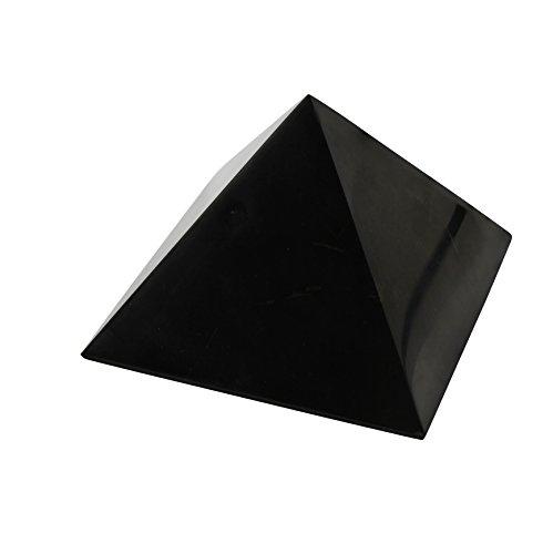 Shungite Pyramid 8 cm (3.15''): Guaranteed Authentic Highest Quality Russian Natural Healing Stone from Karelia - EMF Radiation Protection, Chakra Balancing, Handmade Decoration, Purification Stones by Heka Naturals