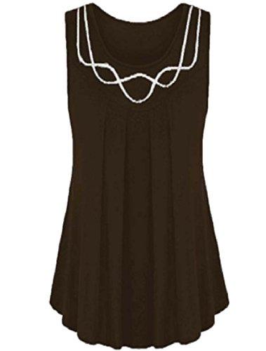 Tootess 女性の夏のプラスサイズの固体色のついたスイングタンクトップシャツ